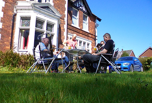 Residents sitting in garden